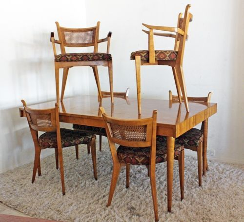 Rare Mid Century Modern Danish Edmund Spence Maple Dining Set W 6 Chairs Ebay