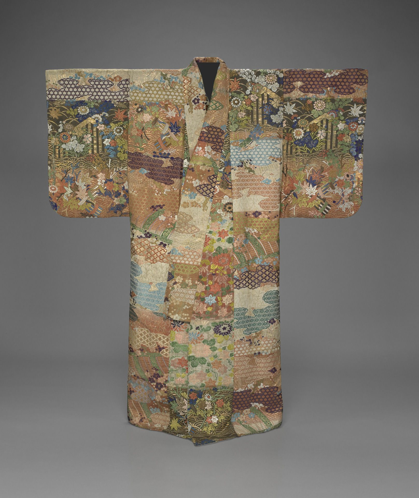 Robe De Chambre Japonaise Noh Robe 18th Century Compound Twill Brocade (karaori