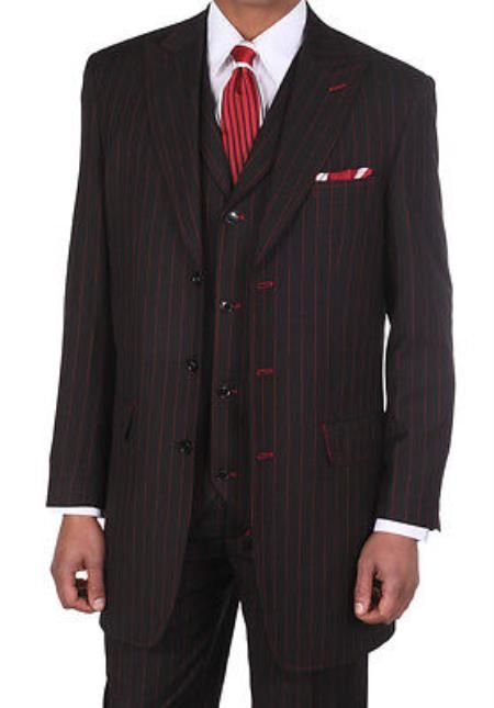 Men's 3 Piece Black & Red Stripe Vested Suit 3 Piece Lapeled Vest ...