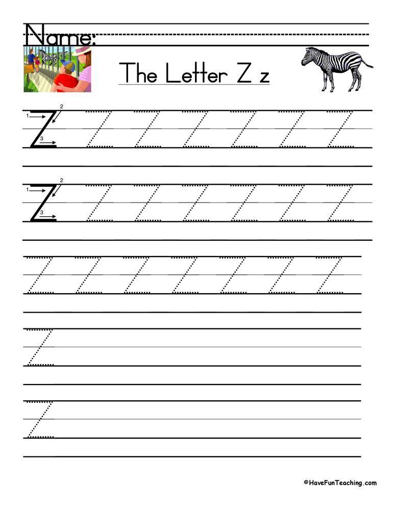 Letter Z Handwriting Practice Worksheet in 2020 Teaching