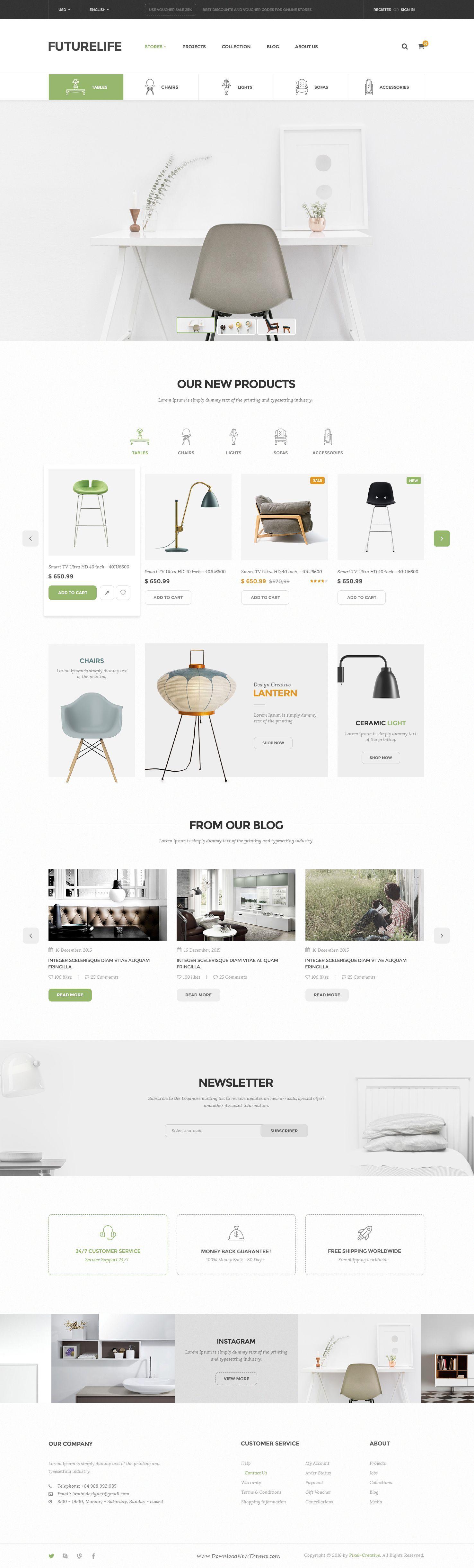 Futurelife - eCommerce PSD Template | Free, Desarrollo web y ...