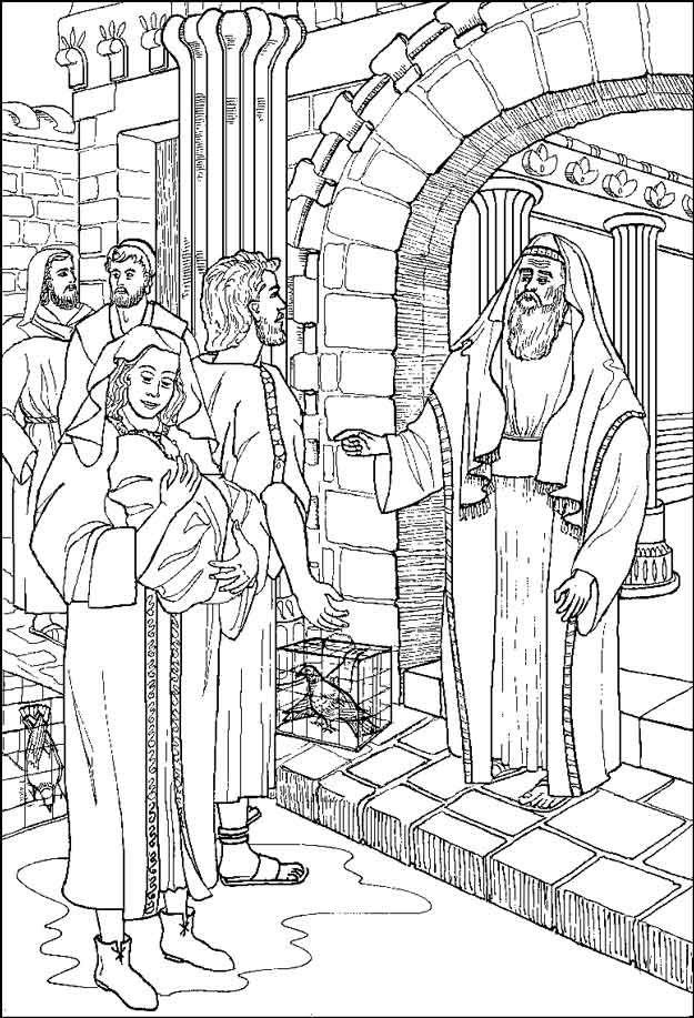 Jezus Bij Simeon Kerst Kleurplaten Pinterest