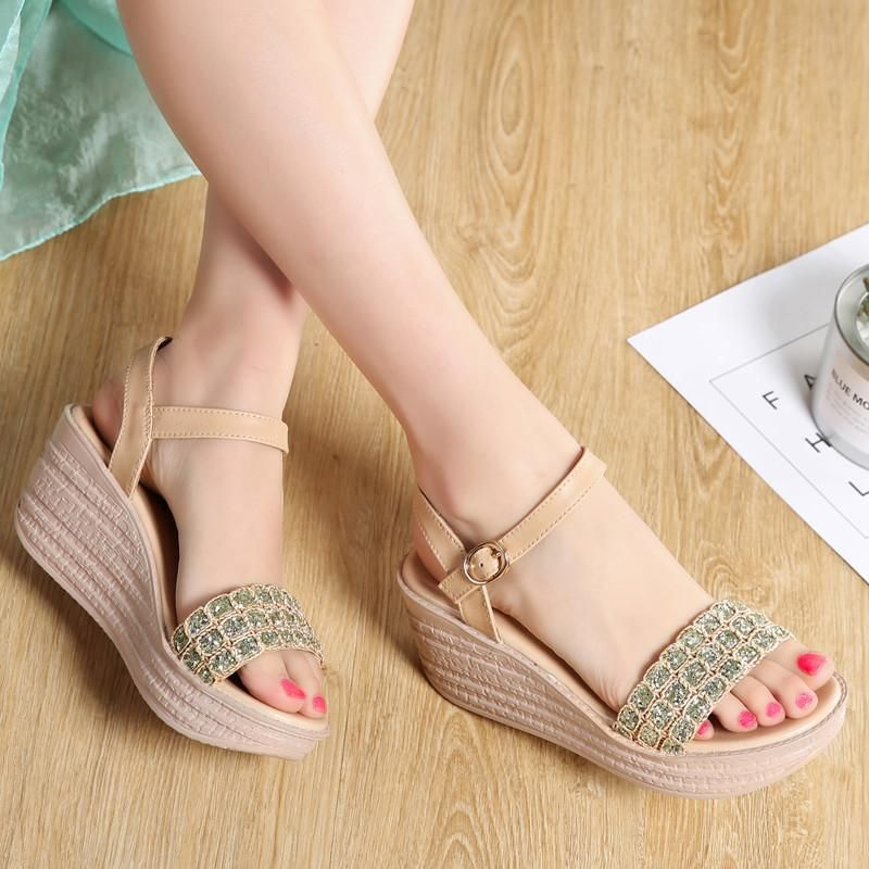 High Heels Women Sandals Shoes Summer Strap Buckle Wedges Sandals Slippers Shoes
