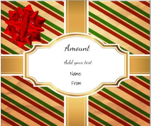 gift shaped gift certificate with gold ribbons across the gift and - christmas certificates templates free