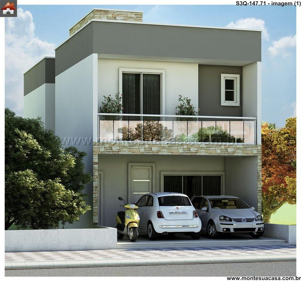Planta de sobrado 3 quartos monte sua casa for Casas modernas terreras