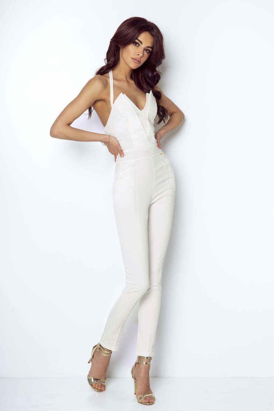 Stylowy Kombinezon Smietankowy T09 Plus Size Summer Outfit Coveralls Women Outfits