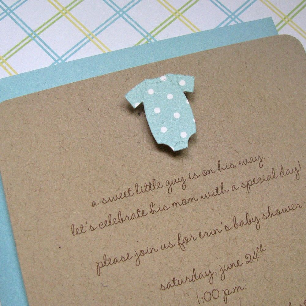 Handmade Baby Shower Invitation Boy Pool Dot Onesie - set of 8 | Boy ...