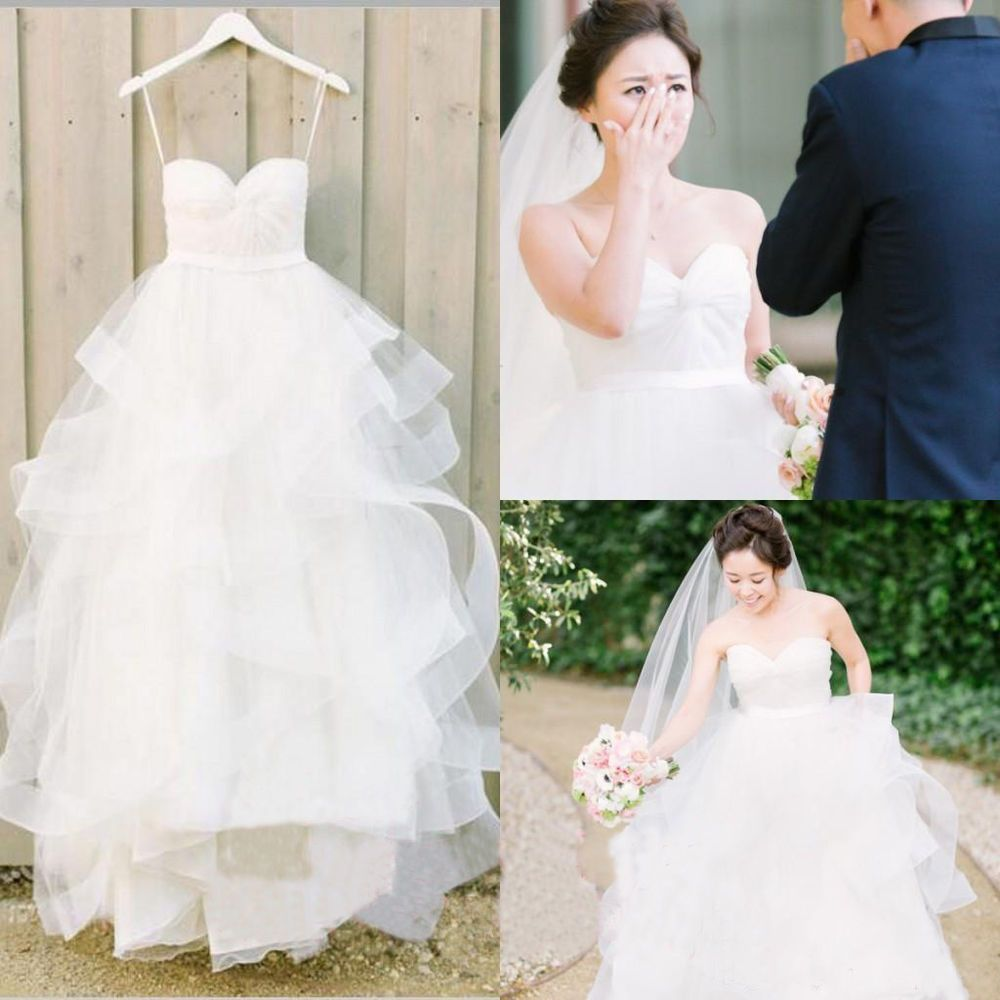 New pleated tulle aline garden bridal ball gown for petite wedding