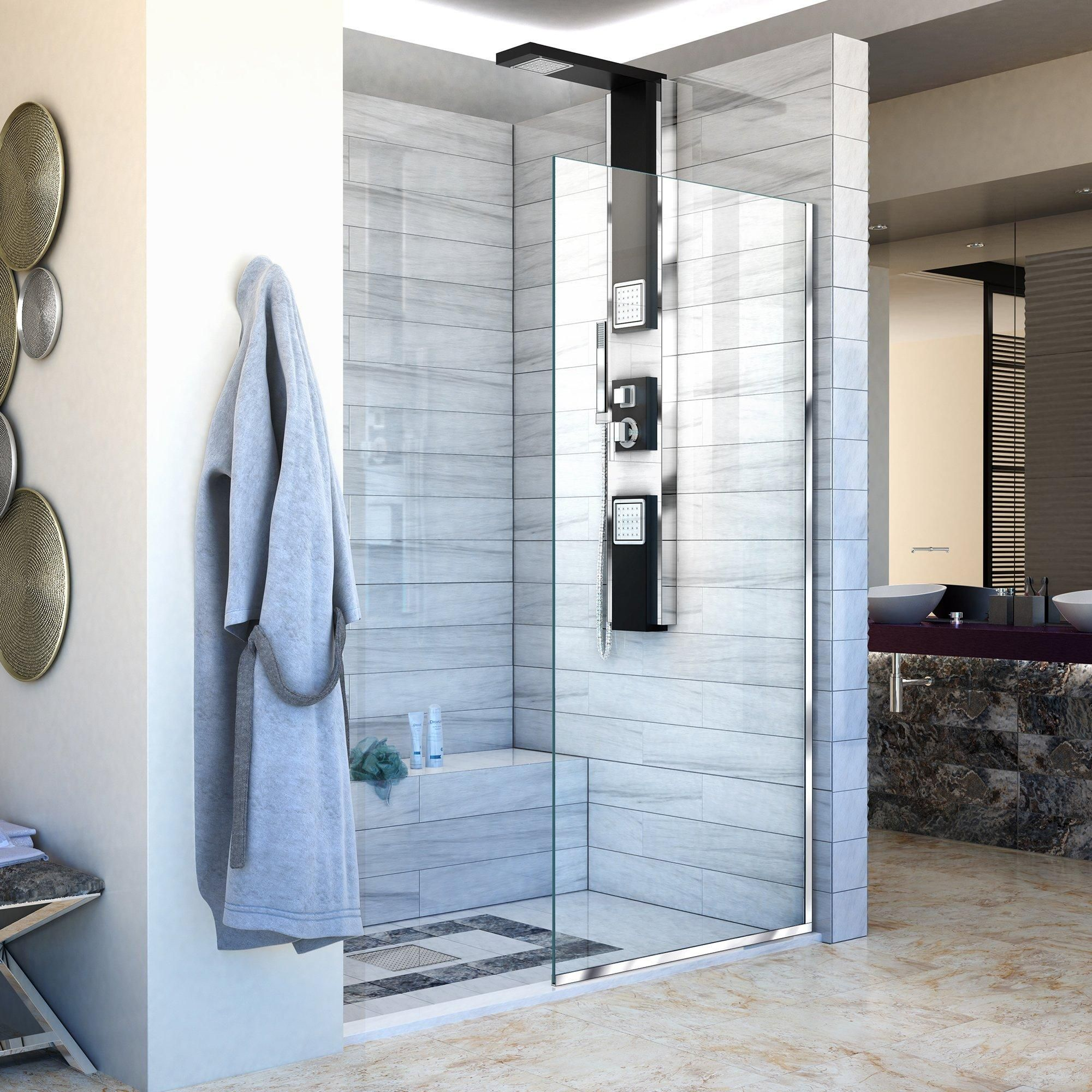 Linea Chrome Single Panel Framless Screen Shower Door In 2020 Shower Doors Black Shower Doors Shower Screen