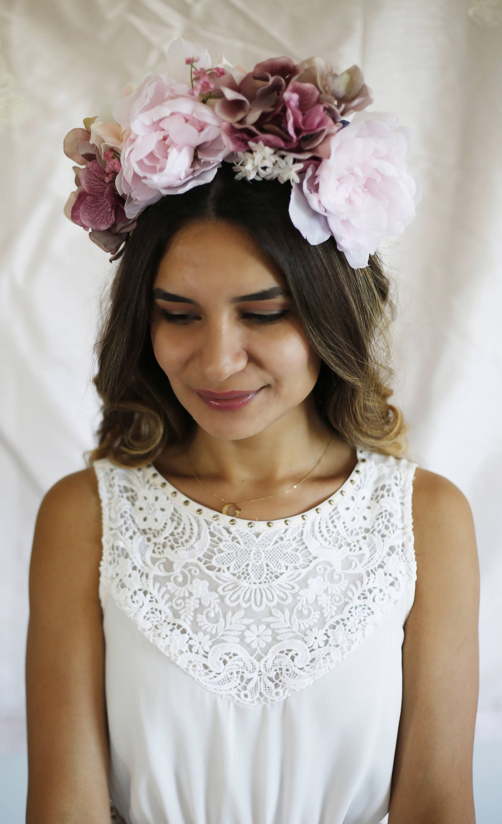 Festive pink flower headband spring statement flower crown forest bridal wedding flower crown festive pink flower headband spring statement flower crown izmirmasajfo