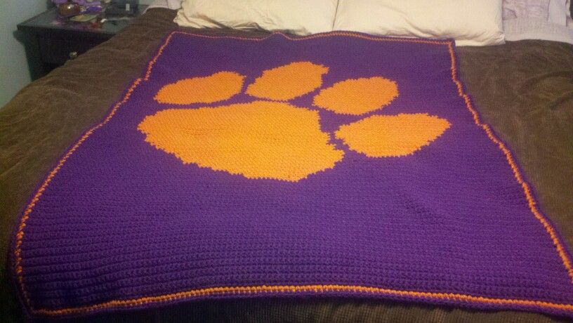 Clemson crochet pattern   Crochet throw pattern, Crochet ...