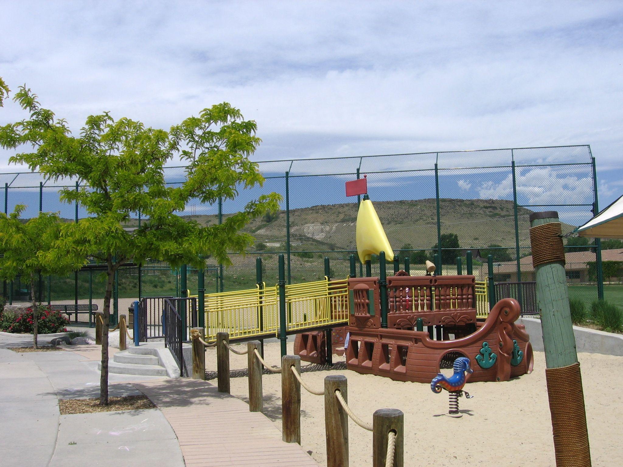 Tanglewood Park 13950 West 20th Avenue Golden Co Pirate Ship Playground Swings Tube Slides Picnic Shelter Park Swings Park Denver Parks