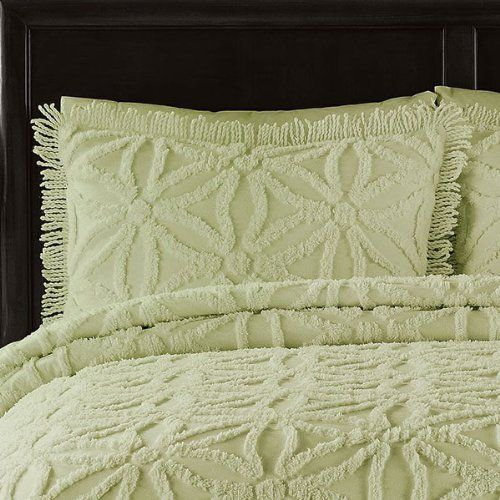 LaMont Luxury Bedding Chenille Coverlet Quilt King Quilt 3pc Set Sage Green  Textured Bedspread Arianna Honeydew