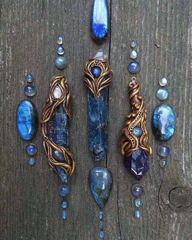 clay wrap crystal jewelry Grey quartz pendant