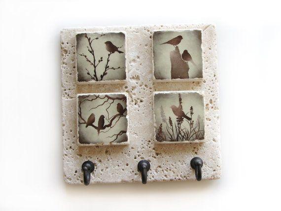Decorative Tile Key Rack, Bird Wall Decor Key Hook, Wall Key ...