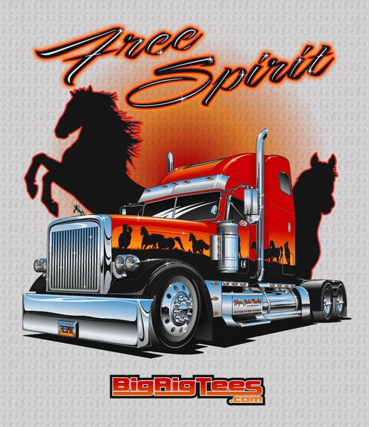3e599341e Free Spirit. As seen on the TV series Trick My Truck. T-shirt design for  BRT's retail line of T-shirts. Freightliner XL.