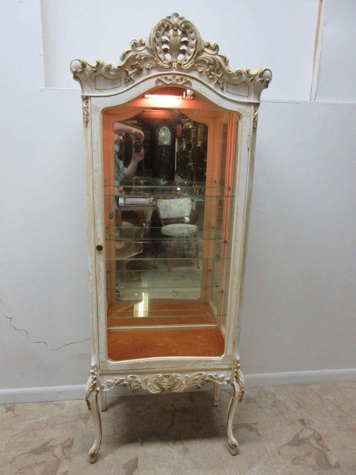 Vintage French Regency Carved Distressed Curio Crystal Display