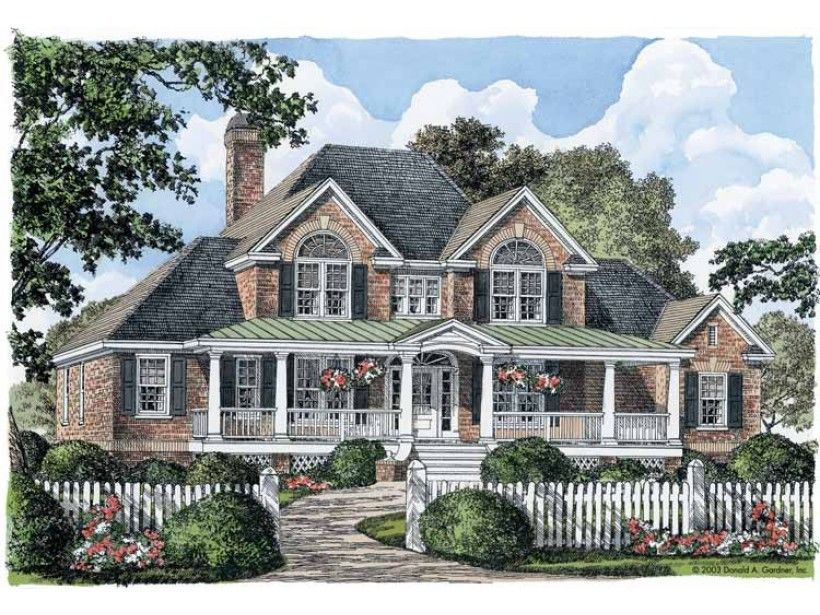 Country Style House Plan 4 Beds