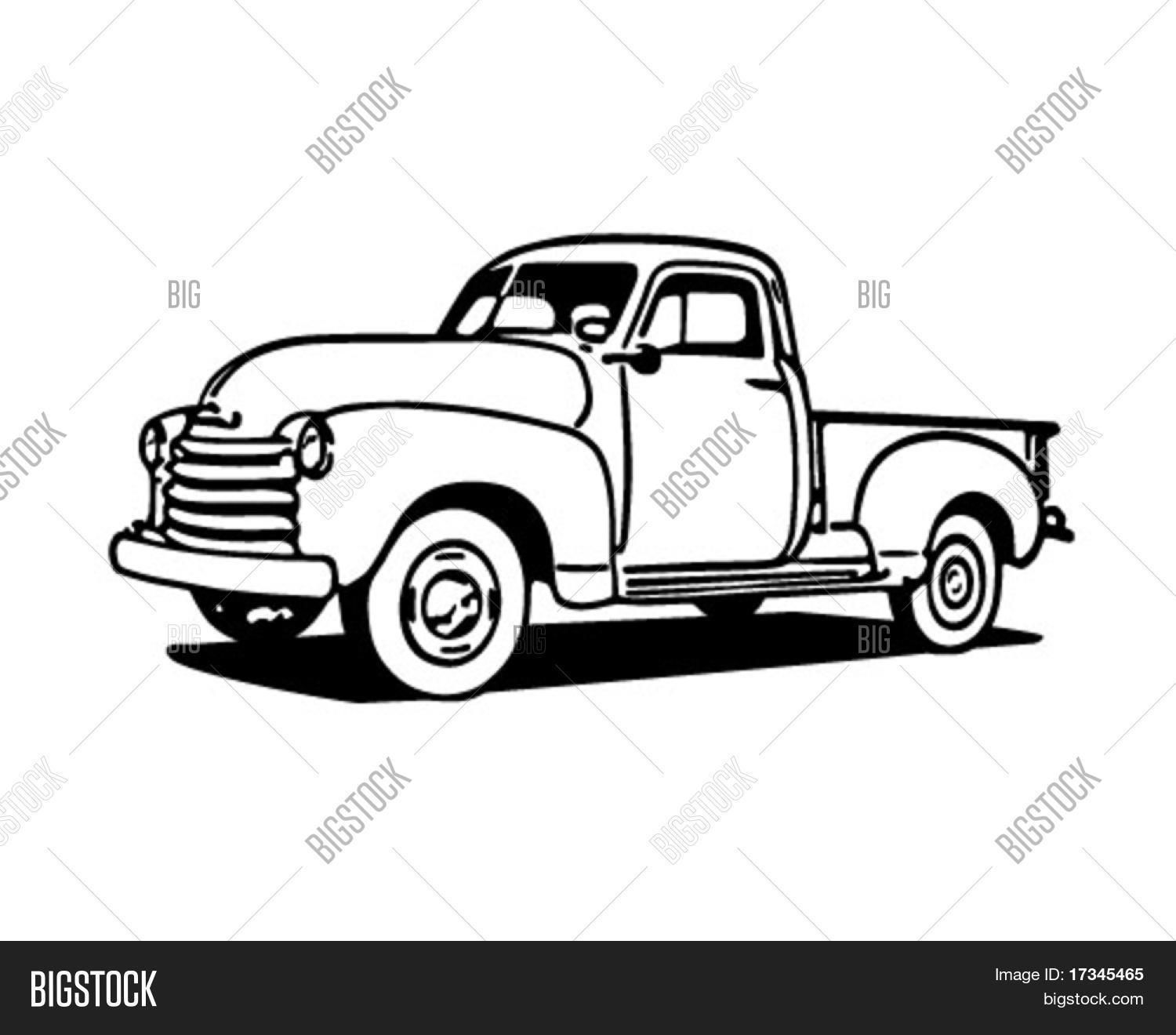45+ Vintage truck clipart black and white info