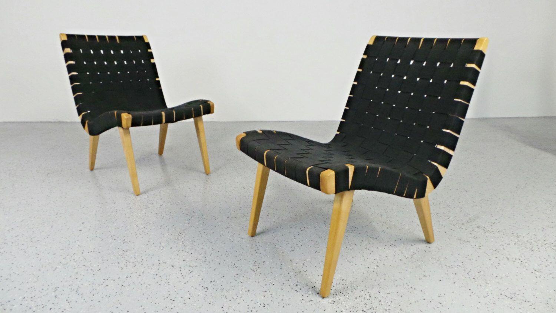 Jens Risom Side Chair Mid Century Modern Jens Risom Knoll Birch Black Parachute Strap