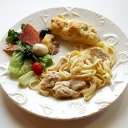 Chicken Fettuccine Alfredo with Antipasto Salad & Breadsticks