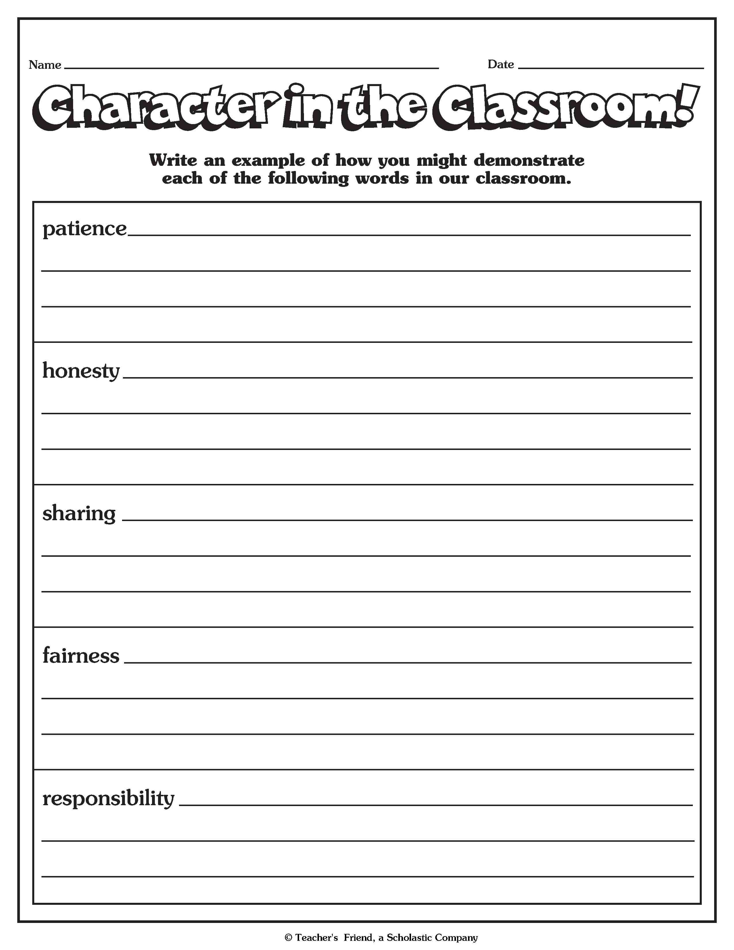 Character Traits Worksheets Pdf   Printable Worksheets and Activities for  Teachers [ 3300 x 2550 Pixel ]
