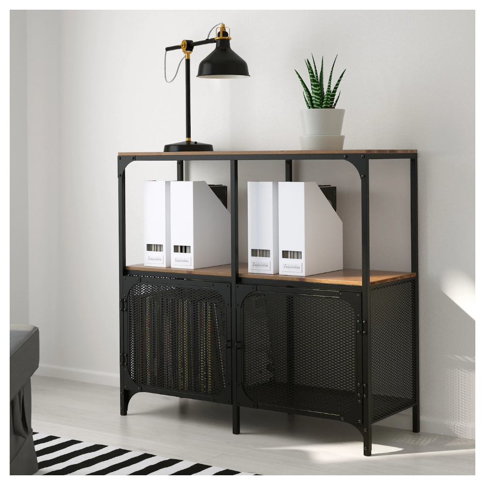 Fjallbo Shelf Unit Black 39 3 8x37 3 8 Ikea In 2021 Metal Bookcase Shelves Shelf Unit