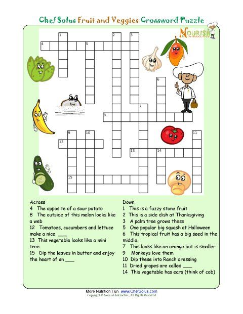Printable Crossword Puzzles For Kids From Nourish Interactive Click To Print This Fun Nutrition Education Food Puzzle