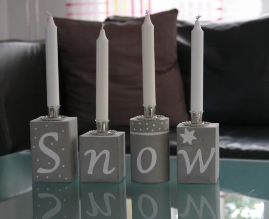 kerzenständer aus beton | schnee, weihnachten und selber machen, Best garten ideen