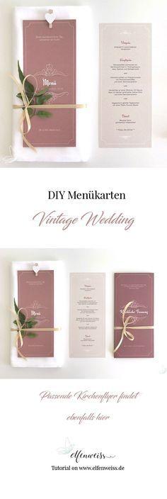 Diy Vintage Menukarten Hochzeit Stationery Pinterest Wedding