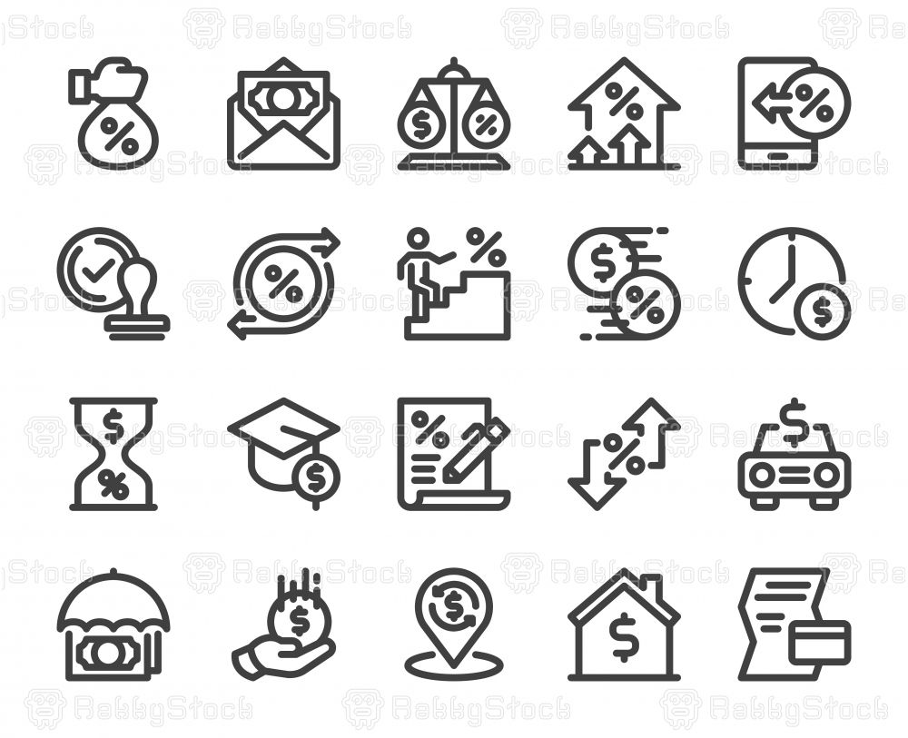 Loan And Interest Bold Line Icons Vector Eps File