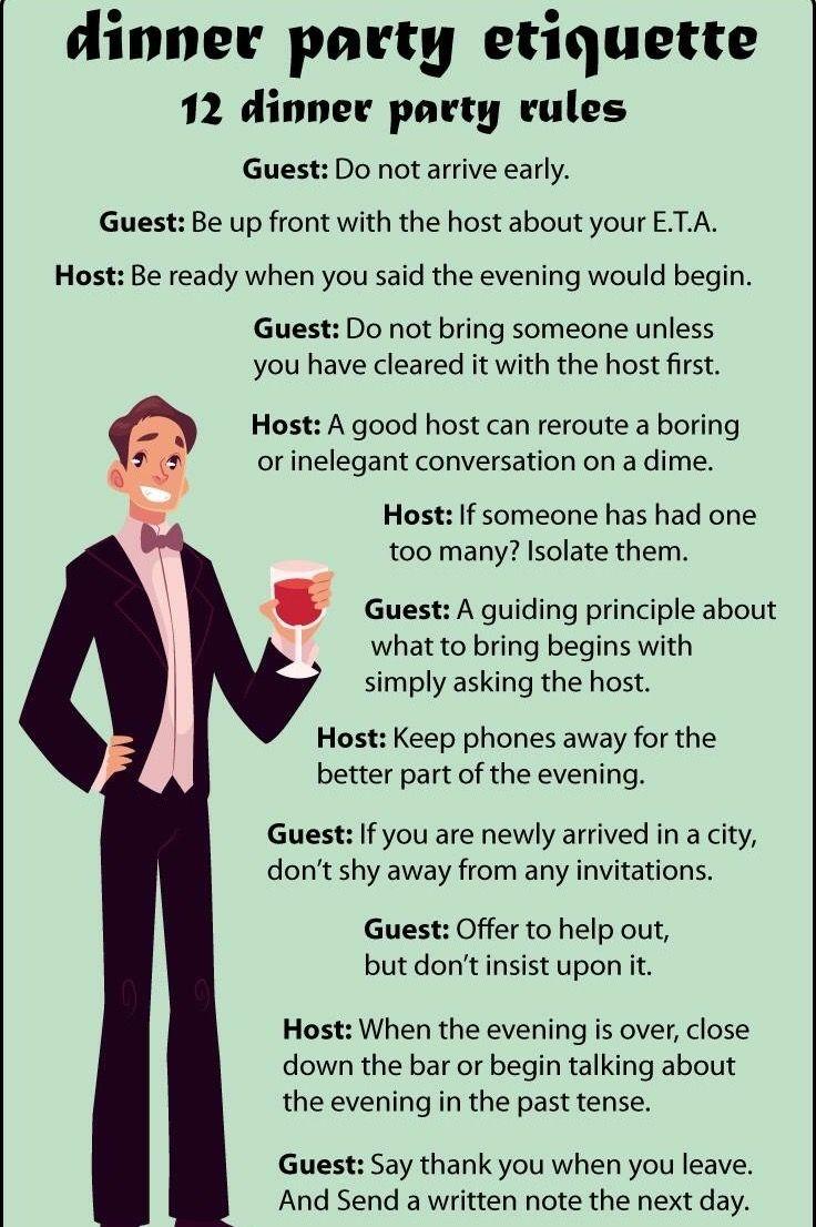 Dinner Party Etiquette Excellent ETIQUETTE Impeccable ENGLISH