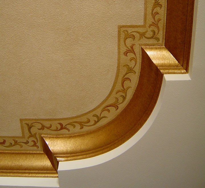 Painted Border and Crown Molding with Gold Paint by Jeff Huckaby