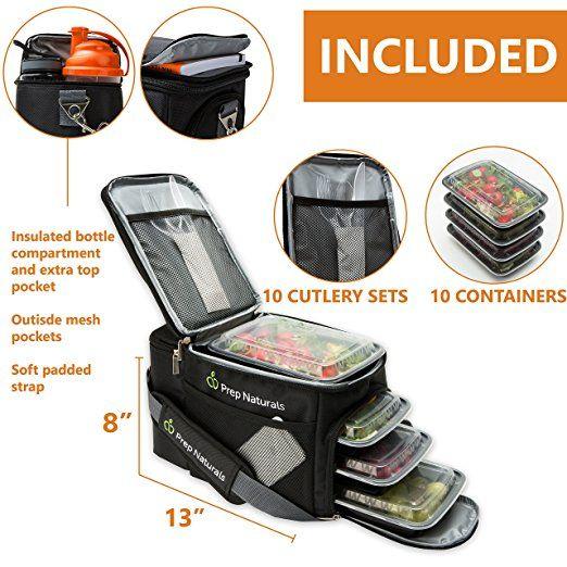 9b8c6bf0d723 Amazon.com: [Premium] Meal Prep Bag + Travel Bag with 10 Bonus Food ...