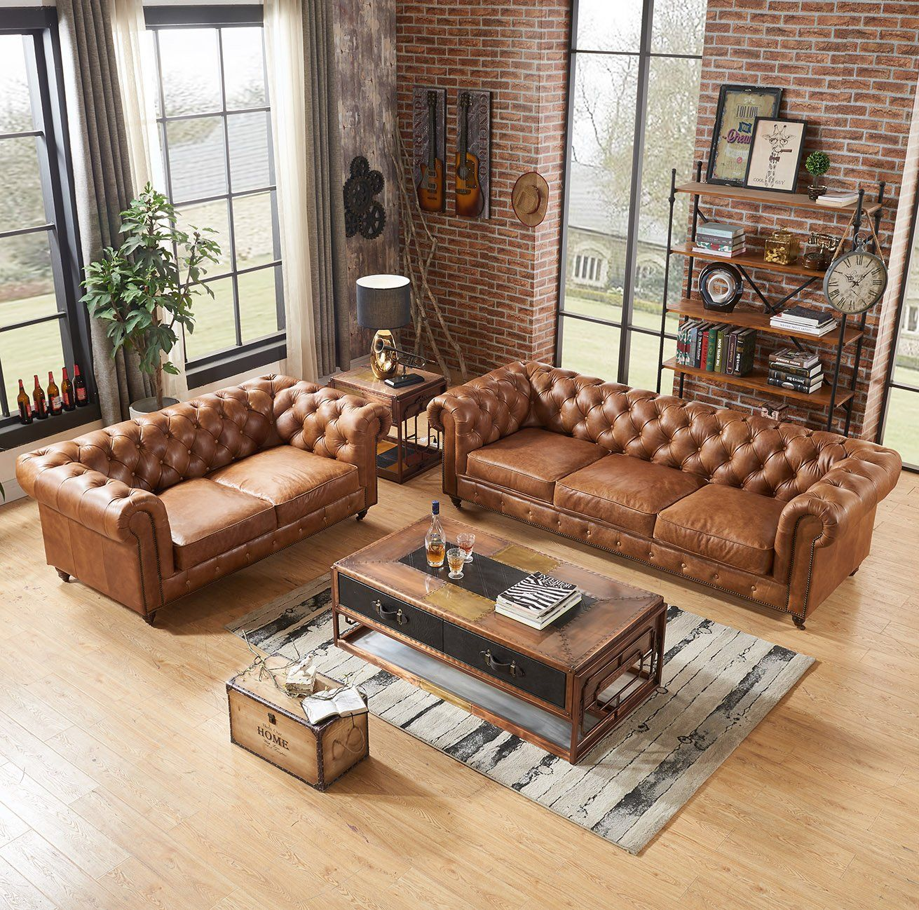 century chesterfield love seat  light brown leather