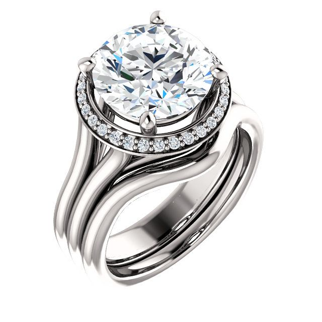 10kt White Gold 10mm Center Round Cubic Zirconia And 30 Halo Diamonds Bridal Ring Set St122281 53 Diamond Bridal Ring Sets Bridal Ring Set Beautiful Jewelry