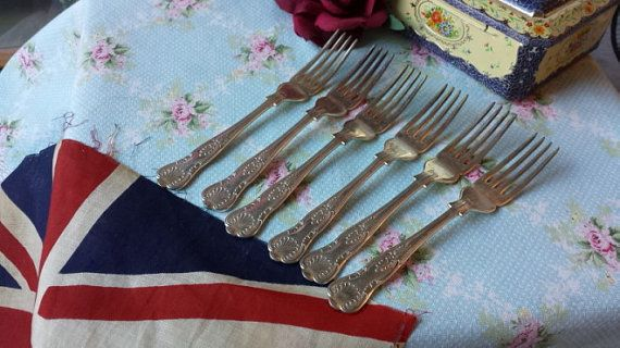6 Silver Plated Kings Pattern Forks Cutlery by NostalgiqueBoutique