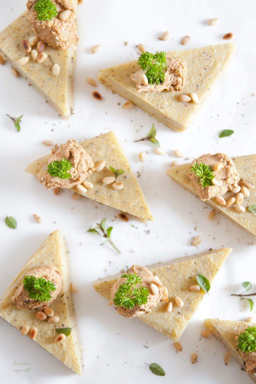 "5 Interesting & Healthy Polenta Recipes -Herbal Polenta ""Cakes"" With Tomato Humus"