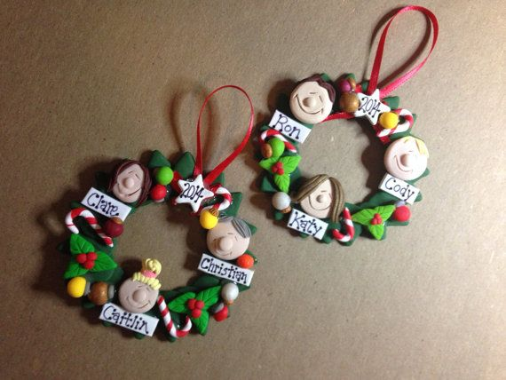 Personalized Polymer Clay Family Wreath Ornament Family Tree ...