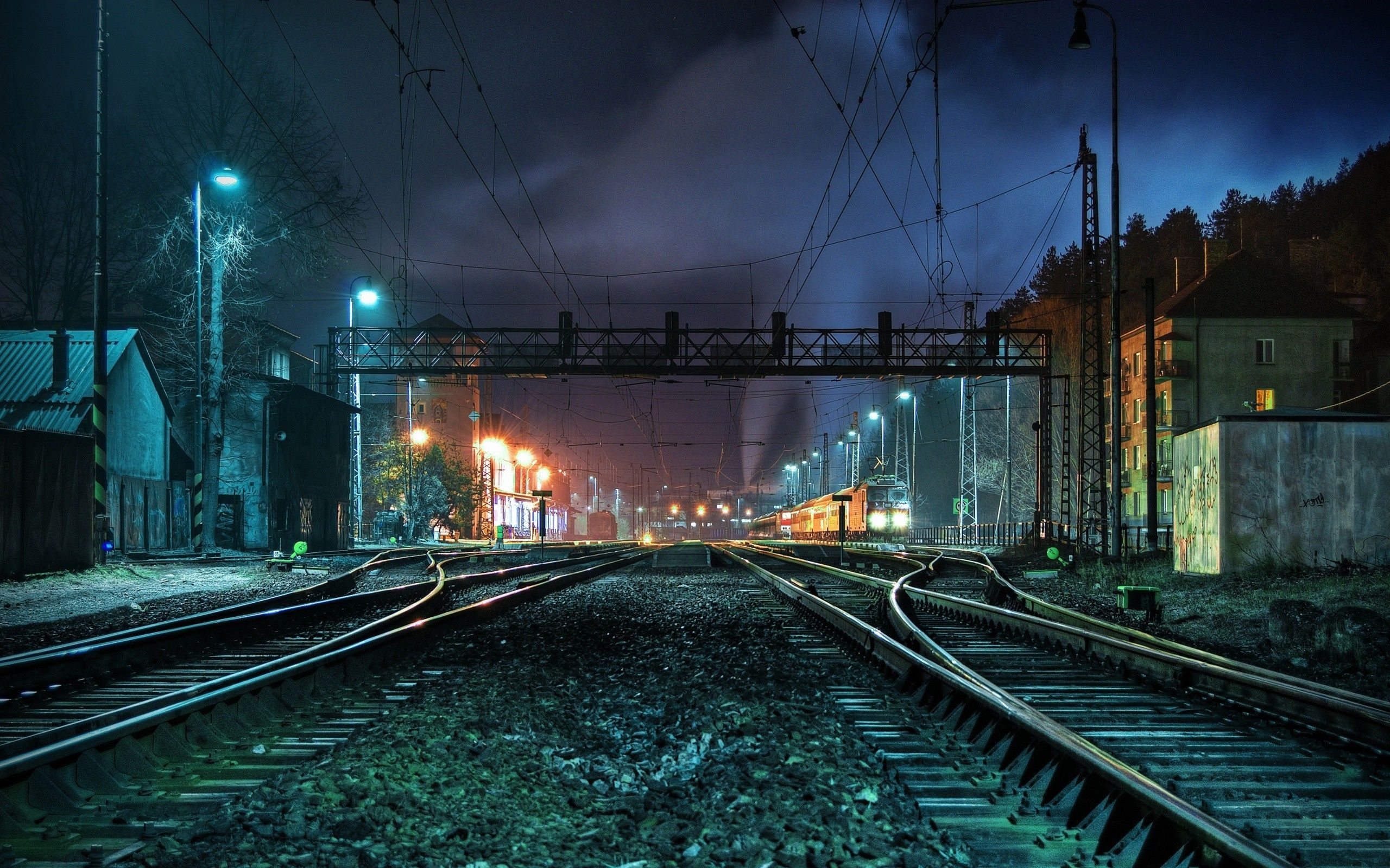 Image detail for ,Night Lights Photography Railroad Tracks Railroads ,  2560x1600 .