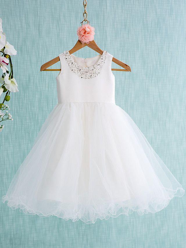 05cf05f76 Lanting novia Salón Hasta la Rodilla Vestido de Niña Florista - Satén   Tul  Sin Mangas Joya con - USD  59.99