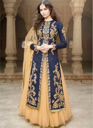 Navy Blue Embroidery Sequins Work Banglori Silk Designer Anarkali ...