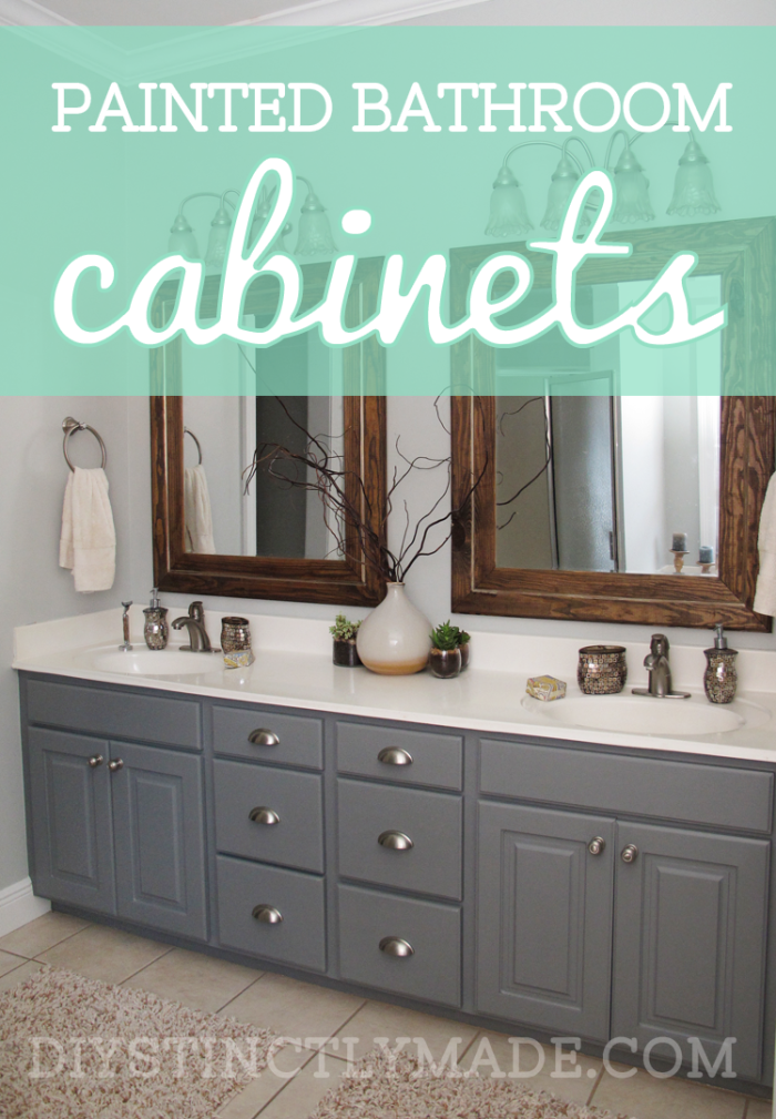 Diy painted bathroom cabinets mark twain house ombre gray diystinctly Bathroom cabinets gray