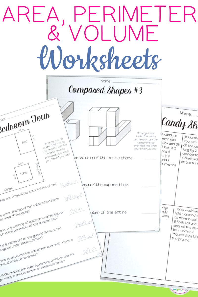 Area Perimeter and Volume Worksheets Distance Learning