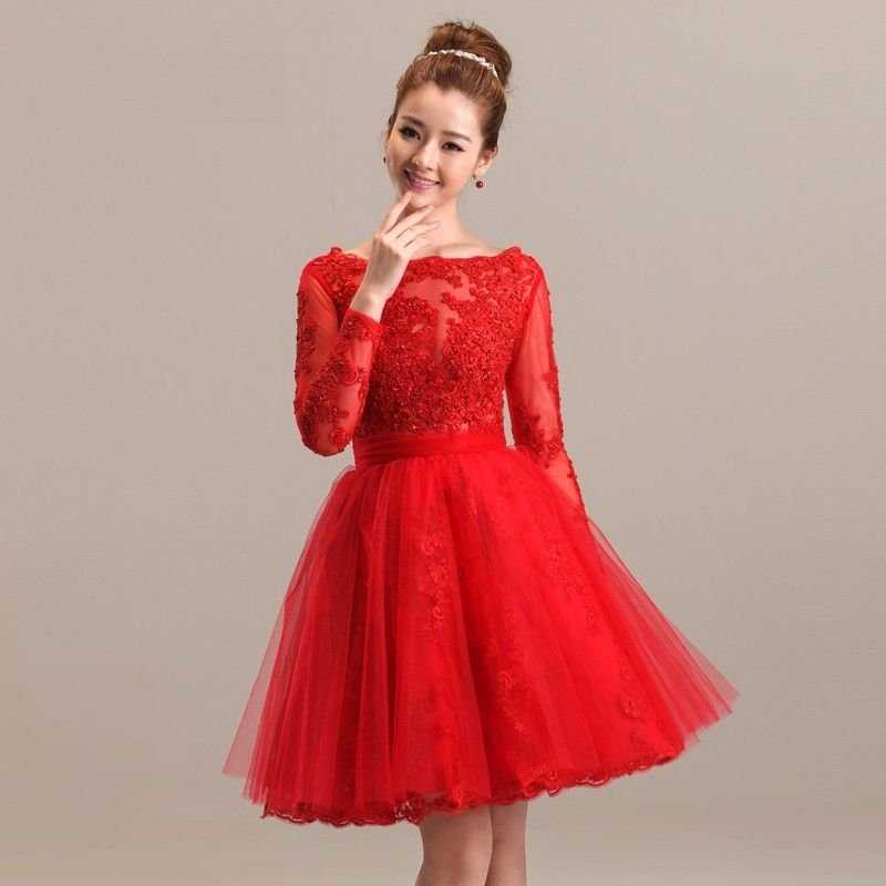 Short Red Long Sleeve Lace Dress
