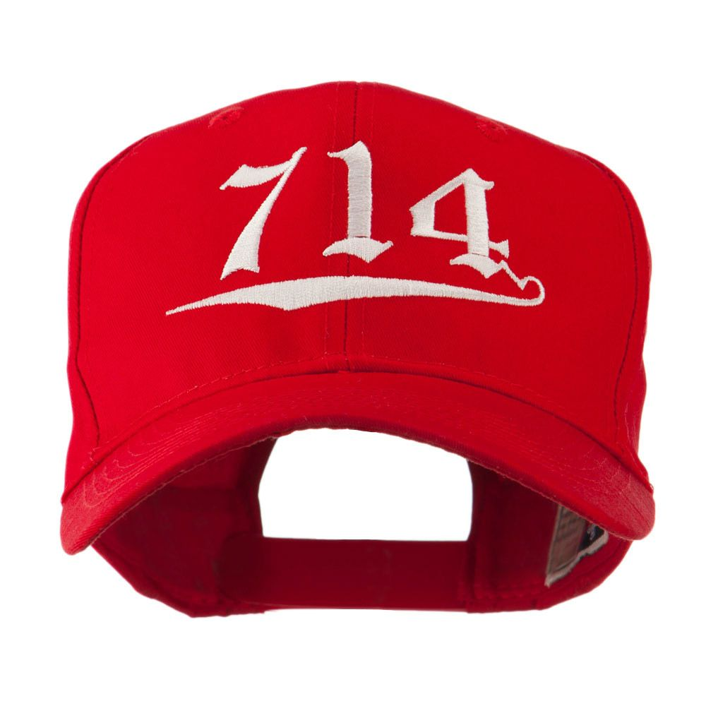 714 Orange County Area Code Embroidered Cap Red