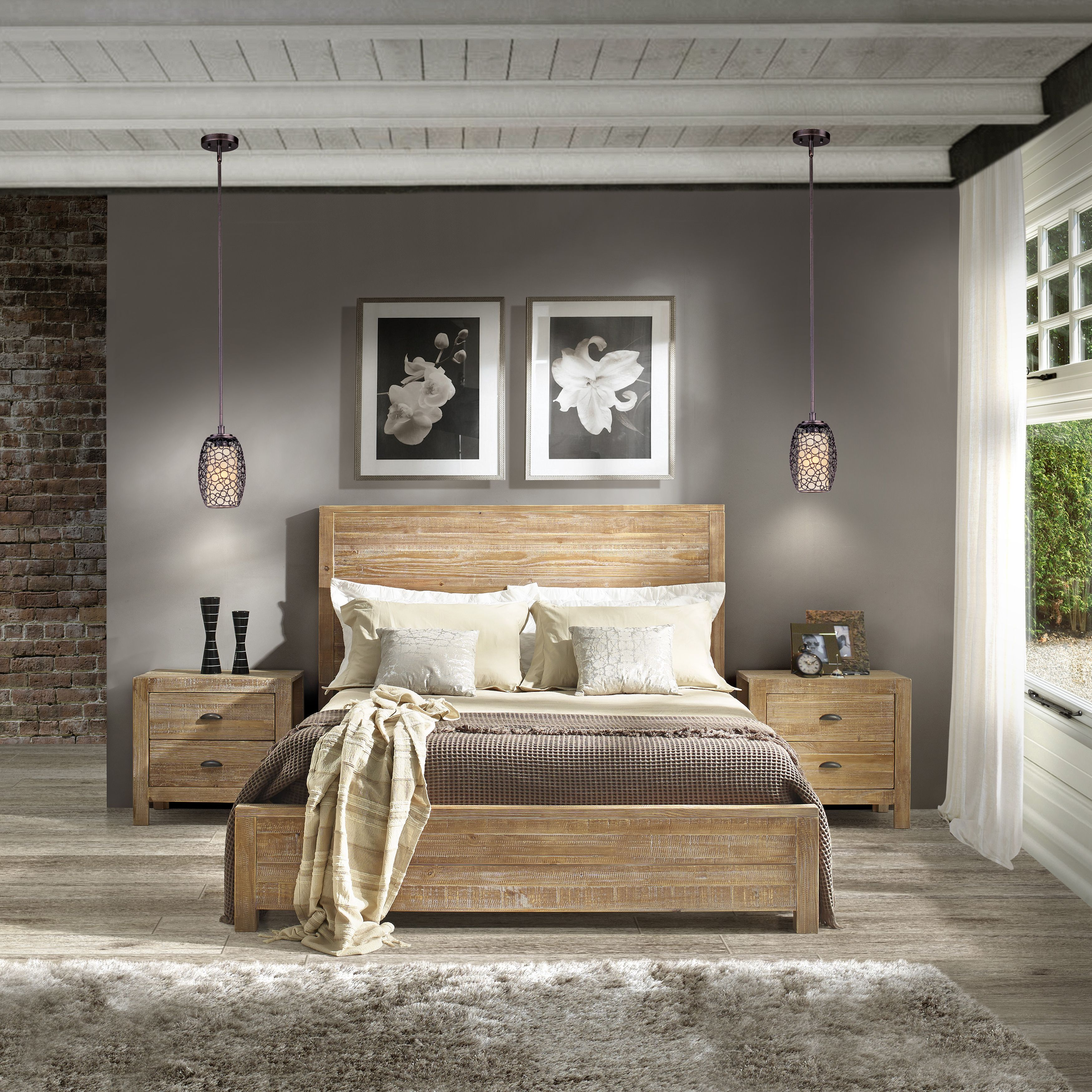 Rustic Wood Bedroom Furniture grain wood furniture montauk queen solid wood panel bed (rustic