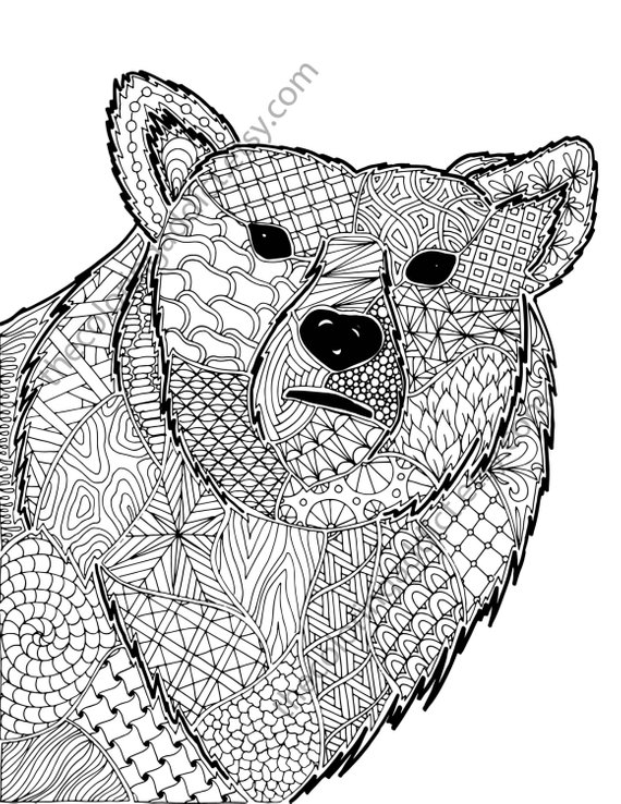 Zentangle Bear Coloring Sheet Animal Coloring Zentangle Colouring Page Zentangle Animal Pdf Int Zentangle Animals Animals Coloring Pages