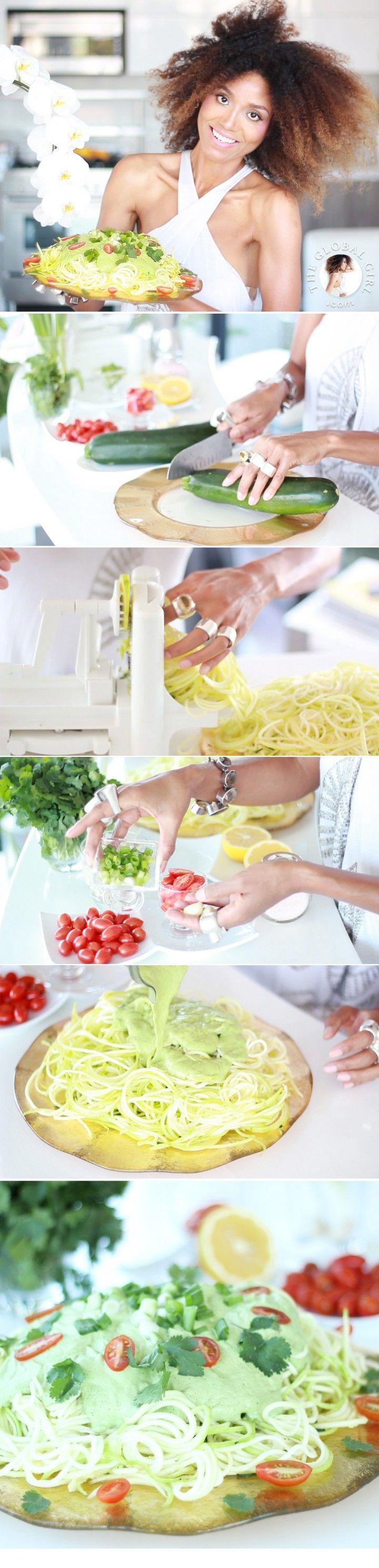 Raw zucchini pasta with creamy cashew cilantro sauce receta raw zucchini pasta with creamy cashew cilantro sauce receta recetas recetas veganas y comida forumfinder Gallery