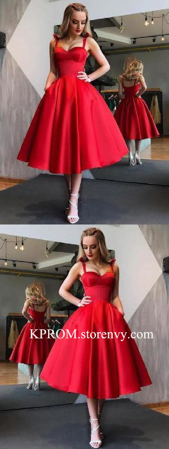 Elegant Red A Line Tea Length Backless Cocktail Dress Short Prom Dress #backlesscocktaildress